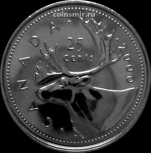 25 центов 2000 Канада. Северный олень.