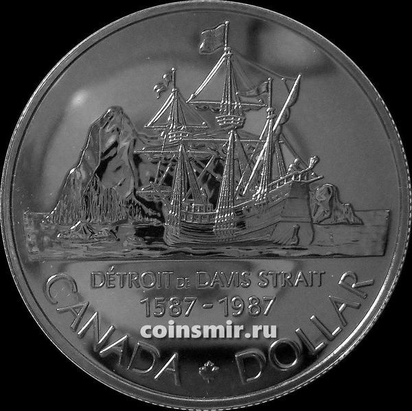 1 доллар 1987 Канада. 400-летие открытия пролива Дэвиса.