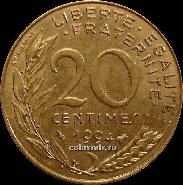 20 сантимов 1994 Франция. Пчела.