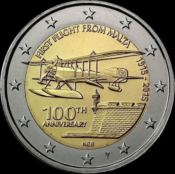2 евро 2015 Мальта. Столетие первого полета с Мальты.