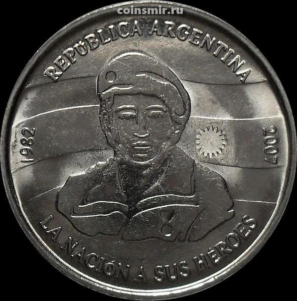2 песо 2007 Аргентина. 25 лет оккупации Фолклендских островов.