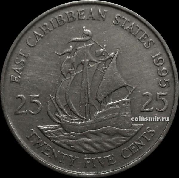 25 центов 1995 Восточные Карибы.