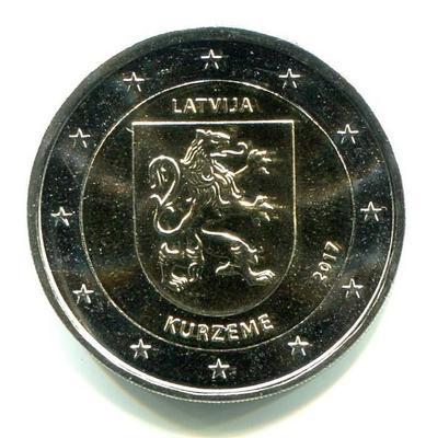 2 евро Латвия 2017г. Историческая область Курземе.