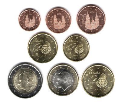 Набор евро монет 8 штук Испания 2019г.