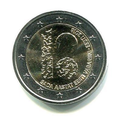 2 евро Эстония 2018г. 100-летие Эстонской Республики.