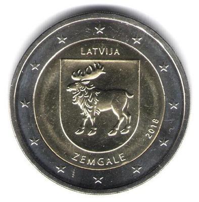 2 евро Латвия 2018 г. Историческая область Земгале