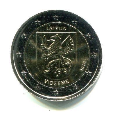 2 евро Латвия 2016г. Историческая область Видземе.