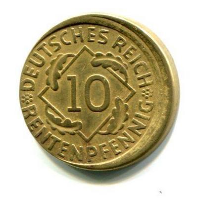 10 пфеннигов Германия 1924 (А) Брак смещение.