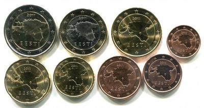 Набор монет евро 8 штук Эстония 2011г.