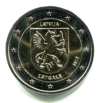 2 евро Латвия  2017г. Историческая область Латгале.