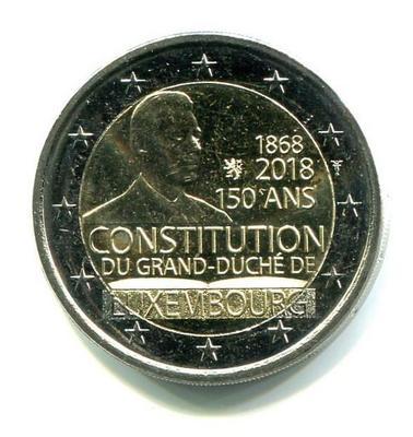 2 евро Люксембург 2018г. 150 лет Конституции Люксембурга.
