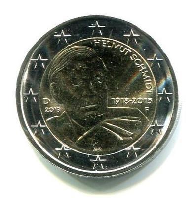 2 евро Германия 2018г. (F). 100 лет содня рождения Гельмута Шмидта.