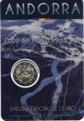 2 евро Андорра 2019 г. (в блистере). Финал Кубка мира по горнолыжному спорту