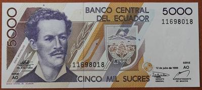 Эквадор 5000 сукре 1999 год
