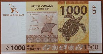 Французские Тихоокеанские Территории 1000 франков 2014 год