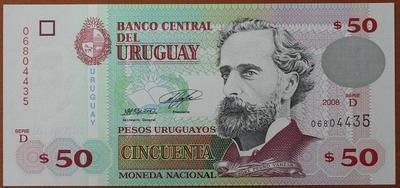 Уругвай 50 песо 2008 год