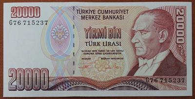 Турция 20000 лир 1995 год
