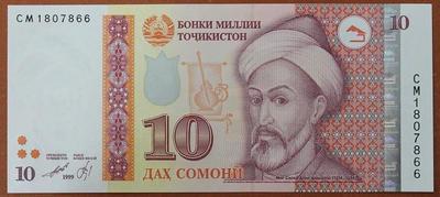 Таджикистан 10 сомони 1999 год