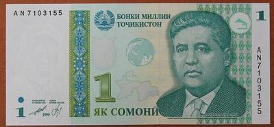 Таджикистан 1 сомони 1999 год