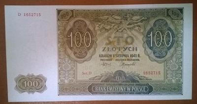 Польша 100 злотых 1941 год