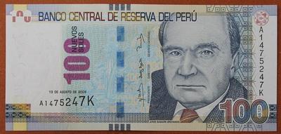 Перу 100 соль 2009 год