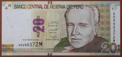 Перу 20 соль 2009 год