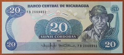 Никарагуа 20 кордоба 1985 год