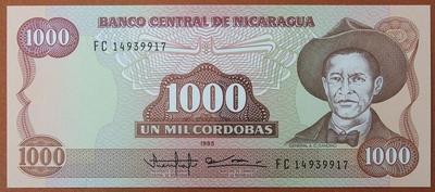 Никарагуа 1000 кордоба 1985 год