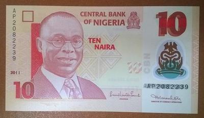 Нигерия 10 найра 2011 год