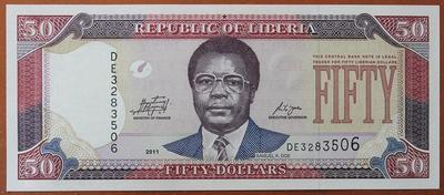 Либерия 50 долларов 2011 год