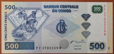 Конго 500 франков 2002 год
