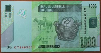 Конго 1000 франков 2013 год
