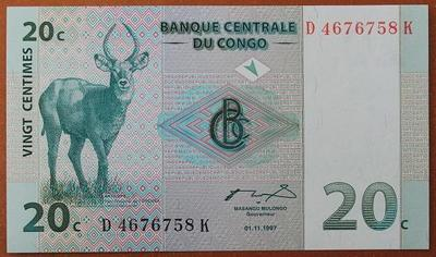 Конго 20 сантим 1997 год