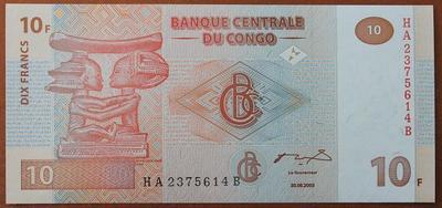 Конго 10 франков 2003 год