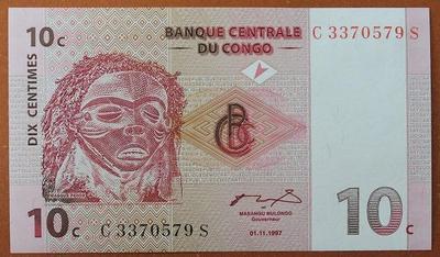 Конго 10 сантимов 2007 год