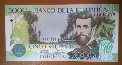 Колумбия 5000 песо 2013 год