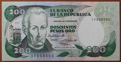 Колумбия 200 песо 1985 год