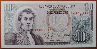 Колумбия 10 песо 1980 год