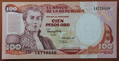 Колумбия 100 песо 1986 год