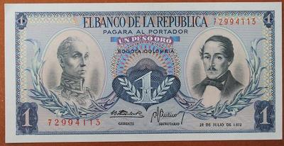 Колумбия 1 песо 1972 год