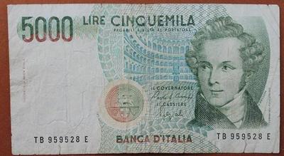 Италия 5000 лир 1985 год