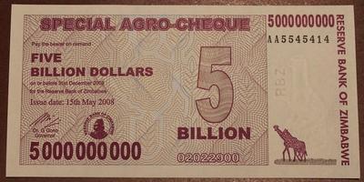 Зимбабве агро-чек 5 миллиардов долларов 2008 год