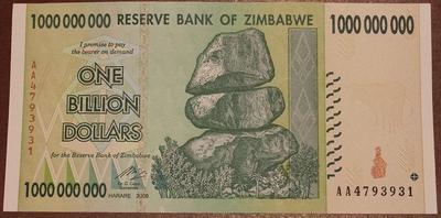 Зимбабве 1 миллиард долларов 2008 год