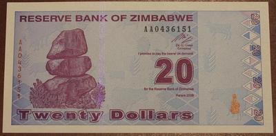 Зимбабве 20 долларов 2009 год
