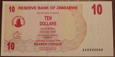 Зимбабве агро-чек 10 долларов 2007 год
