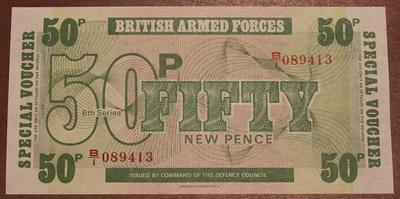 Великобритания ваучер(Вооруженные силы) 50 новых пенсов 6 серия