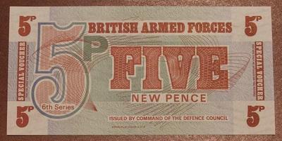 Великобритания ваучер(Вооруженные силы) 5 новых пенсов 6 серия