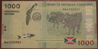 Бурунди 1000 франков 2015 год