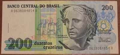 Бразилия 200 крузейро 1990 год