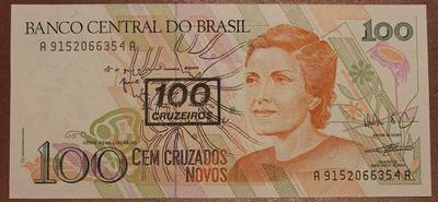 Бразилия 100 новых крузадо 1990 год